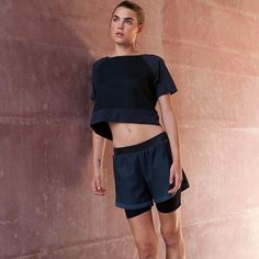 Knock Out Layered Short and In and Out Mesh Sports Fashion Top #workoutlife #wol #sweatsexy #sportluxe #bambi