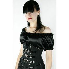 Black Gothic Underbust Corset Buckles Plus Sizes