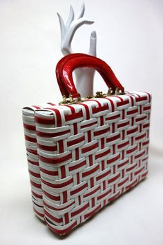 50s Mod Red & White Faux Wicker Large Box Handbag by Vintageables, $115.00