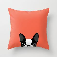 Boston Terrier Throw Pillow by Anne Was Here - $20.00. I MUST HAVE THIS! @Katie VanSandt you need this too:)
