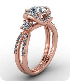 unique rose gold and diamonds engagement ring - love this!
