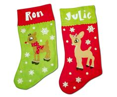Rudolph the Red Nosed Reindeer and Clarice Customizable Christmas Stockings. $50.00, via Etsy.