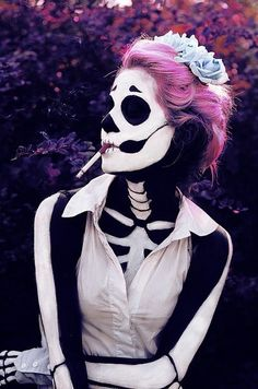 This awesome! #makeup #halloween #costume #skeleton    separate note: for some reason the cigarette makes the photo seem almost like an anti-smoking ad