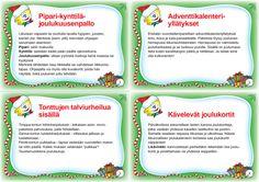 Sivu 1 Christmas Calendar, Kids Christmas, Christmas Cards, Xmas, Pe Lessons, School Themes, Christmas Activities, Creative Kids, Happy Holidays
