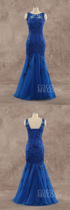 Perfect Trumpet-Mermaid Illusion Floor Length Tulle Sodalite Blue Sleeveless Lace Up-Corset Evening Dress with Appliques and Sequin F14L0020 #longdresses #occasiondresses#mermaiddresses #customdresses #cocomelody