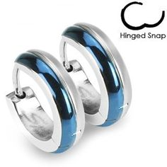 SER-0016 Pair of 316L Surgical Stainless Steel Blue IP 2 Tone Hoop Earring; Comes With Free Gift Box by Jinique -- Awesome products selected by Anna Churchill