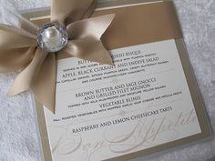 by The Event Essentials #invitation #wedding.............great idea for menu at reception..... also as wedding invitations already champagne color