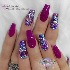 Salmon-colored ombre effect and glitter on the coffin nails - Nail Art Designs . - Salmon-colored ombre effect and glitter on the coffin nails – Nail Art Designs – - Sparkly Nails, Purple Nails, Purple Glitter, Pink Sparkly, Red Glitter Nails, Pink Purple, Maroon Nails, Yellow Nails, Fabulous Nails