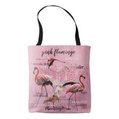 Pink Flamingo Typography   Customized Tote Bag -nature diy customize sprecial design