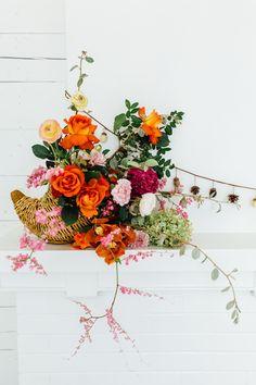 cornucopia floral arrangement