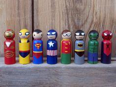 Superheld - SET van 8-Peg mensen - houten Hand Painted peg superheld speelgoed, poppen, houten superheld speelgoed,