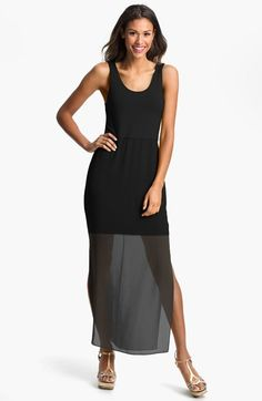 Vince Camuto Chiffon Overlay Tank Dress (Regular love with a bulky necklace or a long necklace!