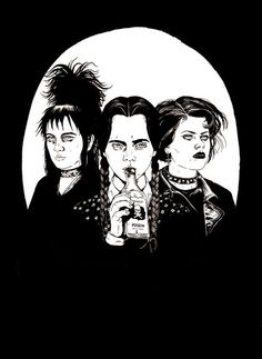 Lydia from Beetlejuice, Wednesday Addams, and Nancy from the Craft.... This would be a great t-shirt