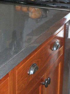 concrete countertop on custom cherry cabinets. Concrete Furniture, Concrete Projects, Concrete Floors, Kitchen Furniture, Concrete Wood, Wood Flooring, Furniture Stores, Cheap Furniture, Diy Concrete Counter