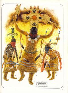 Apache Gun Dancers: 1:Western Apache.2:Mescalero Apache.3:Chiricahua Apache.