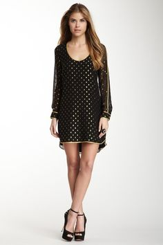 Black and Gold Accent Silk Dress