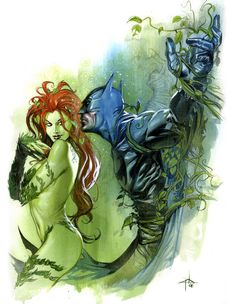 Poison Ivy & Batman by Gabriele Dell'Otto Ivy's gonna punch his stupid bat face and he's gonna like it Poison Ivy Batman, Dc Poison Ivy, Poison Ivy Dc Comics, Comic Book Characters, Comic Character, Comic Books Art, Comic Art, Poison Ivy Character, Marvel Dc