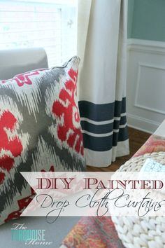 Do you need inexpensive and beautiful curtains?? Find out how to create your own painted drop cloth curtains.