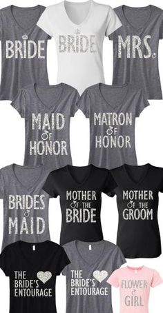 So many cute Wedding/Bridal shirts to choose from! MRS, Maid of Honor, Mother of the Groom, etc! By #NobullWomanApparel by pamela