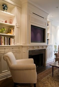 TV, fireplace, & bookcases