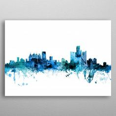 Trademark Fine Art 'Detroit Michigan Blue Teal Skyline' Canvas Art by Michael Tompsett, Size: 30 x 47 Michigan Blue, Detroit Michigan, Detroit Skyline, Artist Canvas, Canvas Art, Foto Poster, Art Themes, Break, Eyeshadow Makeup