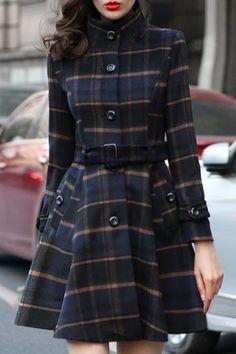 slit pocket plaid date vacation winter, High Neck Plaid Belt Pocket Woolen Coat Plaid Fashion, Trendy Fashion, Winter Fashion, Fashion Outfits, Fashion Coat, Street Fashion, Ladies Fashion, Fashion Styles, Fashion Clothes