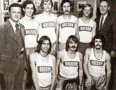 1973 NCAA champs U of Oregon men's cross country team. Rear l-r: Coach Bill Dellinger, Dave Taylor, Gary Barger, Randy James, Scott Daggatt, Coach Bill Bowerman; front l-r: Terry Williams, Steve Prefontaine, Tom Hale