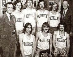 1973 NCAA champs U of Oregon men's cross country team. Rear l-r: Coach Bill Dellinger, Dave Taylor, Gary Barger, Randy James, Scott Daggatt, Coach Bill Bowerman; front l-r: Terry Williams, Steve Prefontaine, Tom Hale