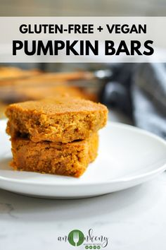 These delicious pumpkin bars are an allergy-friendly pumpkin bar recipe that will become your favorite with just one bite. They're easy to make and best of all, these soft and moist pumpkin bars are gluten-free, AIP, and vegan-friendly! Ana Ankeny - Healthy Recipes Vegetarian Desserts, Healthy Dessert Recipes, Gluten Free Desserts, Dairy Free Recipes, Healthy Baking, Clean Eating Recipes, Baking Recipes, Real Food Recipes, Vegan Recipes