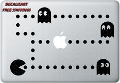 Pacman Macbook Decal - Mac Decal - Macbook Sticker - Laptop Decal - Pac-Man Retro Vintage Gaming Macbook Stickers, Macbook Decal, Laptop Decal, Vintage Games, Retro Vintage, Mac Decals, Pac Man, Gaming, Apple
