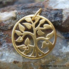Gold Tree of Life  Necklace Charm Vermeil by ShiningLightJewelry (Craft Supplies & Tools, Jewelry & Beading Supplies, tree of life, tree pendant, tree charm, tree of knowledge, necklace charm, circle of life, family tree, gold, gold tree of life, small gold tree, tree necklace charm, gold tree necklace, circle tree charm)