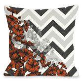 Found it at Wayfair - Amber Chevron Floral Polyester Throw Pillow