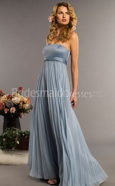 A-Line Silver Chiffon Strapless Floor-length With Draping Bridesmaid Dresses(UKBD03-340)