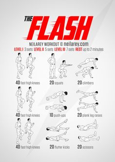 No-equipment bodyweight FLASH workout for all fitness levels. Visual guide: print & use.