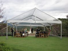 Clear Jumbo Track Canopy set up at Holman Ranch on their Ceremony Lawn