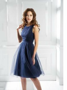 A-line Scoop Tulle Knee-length Sleeveless Pleats Cocktail Dresses at Millybridal.com