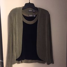 Additions by Chico's twinset Both pieces sz 1, black & green tank with solid green cardi Additions by Chico's Other