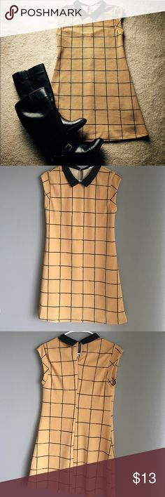 Collared box print dress Tan cap-sleeved dress with cute black collar and geometric box print all over. Purchased from Nordstrom Rack. Only worn twice. Lush Dresses