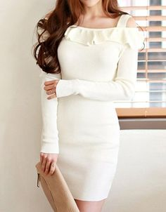 Sweet Off-The-Shoulder Long Sleeve Spliced Solid Color Women's Dress