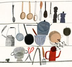 I'm fine with a two dimensional kitchen. More space to entertain with takeout.  cooking utensils / emma lewis.
