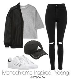 """Monochrome Inspired: Yoongi"" by btsoutfits ❤ liked on Polyvore featuring adidas, 3.1 Phillip Lim, STELLA McCARTNEY and Topshop"