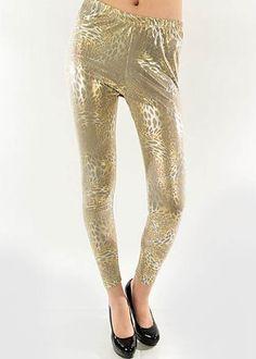 Lady's Fashion Gold Leopard Liquid Legging Yelete. $24.99