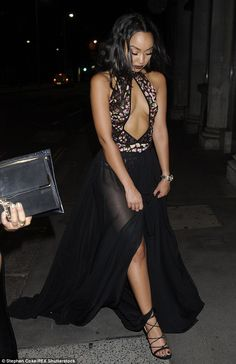 Stealing the show: Little Mix's Leigh-Anne put on a leggy display in a sheer skirt and cut-out dress for the Black Magic Party on Monday night