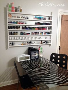Nail Polish Shelf - want this for the back of the linen closet door but it needs to have a plexiglass lip to keep polish bottles from fallout out when the door is opened an closed Home Nail Salon, Nail Salon Decor, Privates Nagelstudio, Nail Rack, Nail Station, Manicure Station, Nail Polish Storage, The Door Is Open, Nail Shop