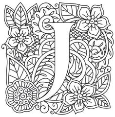 Kleurplaat Mendhika Letter J_image Coloring Book Pages, Printable Coloring Pages, Paper Embroidery, Embroidery Patterns, Coloring Letters, Alphabet Design, Doodle Lettering, Letter J, Alphabet And Numbers