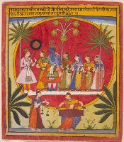 Object Number         1995.75     People         Unknown Artist     Title         Krishna, Radha and the Gopis with a Young Prince     Classification         Paintings     Work Type         painting      Date         c. 1650     Places         Creation Place: South Asia, India, Rajasthan, Mewar      Culture         Indian