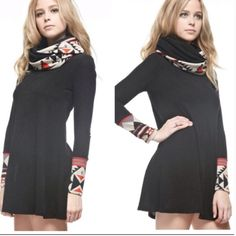 Aztec Print Dress Dress or tunic features Aztec print sleeves and scarf. Dresses Mini