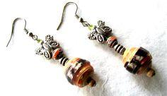 Paper bead earrings-Handmade earrings-Eco friendly jewelry-Natural jewelry-Metal butterflies-Handmade beads-Recycled jewelry-Recycled beads