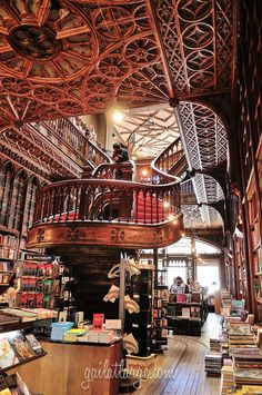 Livraria Lello, Porto, Portugal — by Gail at Large Beautiful Library, Dream Library, Livraria Lello Porto, Portugal Travel, Stairways, Architecture Design, Beautiful Places, Around The Worlds, Pictures