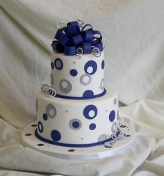 blue and silver dots; all fondant — Bridal Shower